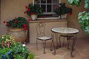 Gardenias Photos - Santa Fe porch table by Colleen Keizer