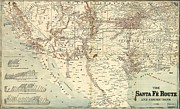 Early Drawings Prints - Santa Fe Railroad Routes  1888 Print by Pg Reproductions