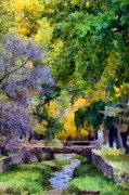 Joseph Frank Baraba Painting Prints - Santa Fe River And Bridge Print by Joseph Frank Baraba