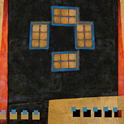Turquoise Posters - Santa Fe Windows Poster by Carol Leigh
