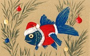 Greeting Card Pastels Prints - Santa Fish Print by Anastasiya Malakhova