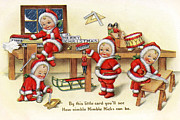 Cards Vintage Digital Art Prints - Santa Helpers at Work Print by Munir Alawi