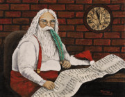 Christmas Card Painting Originals - Santa Is Checking His List by Darice Machel McGuire