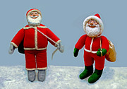 Character Sculpture Posters - Santa Jr. And Sr. Poster by David Wiles