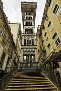 Flight Of Stairs Posters - Santa Justa Lift Poster by Deborah Smolinske