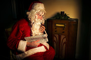 Claus Photo Posters - Santa Listening to the Weather Report Poster by Diane Diederich