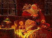 Christmas Card Painting Originals - Santa Loves Cookies by Steve Roberts