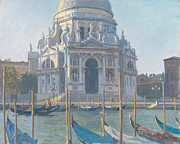 Light Poles Framed Prints - Santa Maria della Salute Framed Print by Julian Barrow