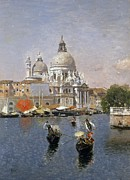 Waterways Framed Prints - Santa Maria della Salute Framed Print by Martin Rico y Ortega