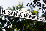 Beverly Hills Prints - Santa Monica Blvd Street Sign in Beverly Hills Print by Paul Velgos