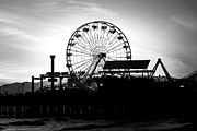 Paul Velgos - Santa Monica Ferris Wheel Black and White Photo