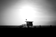 Santa Monica Posters - Santa Monica Lifeguard Tower in Black and White Poster by Paul Velgos