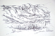 Monica Drawings Framed Prints - Santa Monica Mountains view from Kanan Road Framed Print by Robert Birkenes