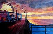 Santa Monica Pier At Dawn Print by M Bleichner