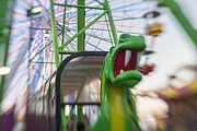 Roller Coaster Photos - Santa Monica Pier Dragon Ride Landscape by Scott Campbell
