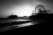 Roller Coaster Prints - Santa Monica Pier in Black and White Print by Paul Velgos