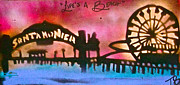 Kobe Painting Prints - Santa Monica Pier RED Print by Tony B Conscious
