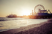 Santa Monica Pier Retro Sunset Picture Print by Paul Velgos