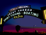 Cafes Mixed Media - Santa Monica Pier Sign at Night by Charles Shoup