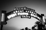 Monica Photos - Santa Monica Pier Sign in Black and White by Paul Velgos