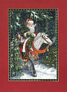 Fir Trees Painting Prints - Santa of the Northern Forest Print by Lynn Bywaters