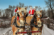 Christmas Holiday Scenery Art - Santa  On An Evening Ride With His Team Of Horses by Kriss Russell