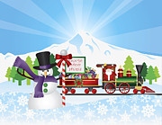 Delivering Presents Framed Prints - Santa on Train With Snow Scene Framed Print by JPLDesigns