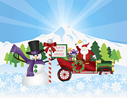 Delivering Presents Framed Prints - Santa on Vintage Car With Snow Scene Framed Print by JPLDesigns