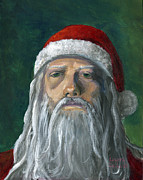 Santa Claus Paintings - Santa Portrait Art Red and Green by Lenora  De Lude