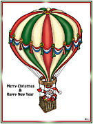 Santa Claus Digital Art Originals - Santa Rides in Hot Air Balloon by Bill Proctor