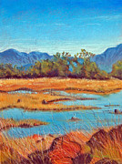 Reflecting Water Pastels Prints - Santa Rosa Plateau Vernal Pools Print by Robin Coats
