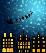 Delivering Presents Framed Prints - Santa Sleigh Reindeer Flying Over Victorian Houses Framed Print by JPLDesigns