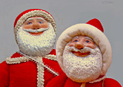 Painted Sculpture Sculptures - Santa Sr. And Jr. - Quality Time by David Wiles