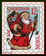 Mccombie Mixed Media - Santa Stamp by J McCombie