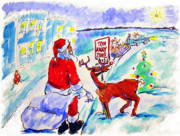 Rudolph Drawings Prints - Santa towed - 2005 Print by Charles M Williams