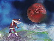 Planet Paintings - Santa Under a Red Planet by Mike Cicirelli