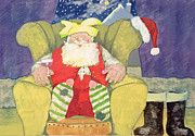Christmas Card Painting Framed Prints - Santa Warming his Toes  Framed Print by David Cooke