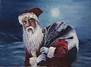 Christmas Greeting Painting Framed Prints - Santa With His Pack Framed Print by Darice Machel McGuire