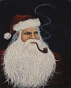 Christmas Greeting Painting Posters - Santa With His Pipe Poster by Darice Machel McGuire