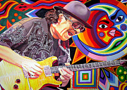 Bands Painting Prints - Santana Mystic Vision Print by Joshua Morton