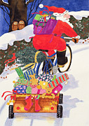 Santa Claus Paintings - Santas Bike by Linda Benton