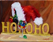 Wine Bottle Paintings - Santas Cheer by Laura Lee Zanghetti