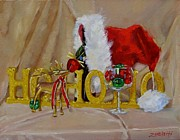 Wine Bottle Paintings - Santas Cheer two by Laura Lee Zanghetti