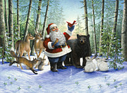 Squirrel Painting Prints - Santas Christmas Morning Print by Lynn Bywaters