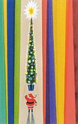 Father Christmas Prints - Santas Christmas Tree Print by Stanley Cooke
