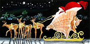 Key West Paintings - Santas Conch Sleigh and Tiny Key Deer by Abigail White