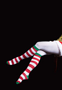 Santa Claus Posters - Santas Helper Legs Christmas Card Poster by Edward Fielding