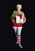 Claus Photo Posters - Santas Helper Merry Christmas Elf Card Poster by Edward Fielding
