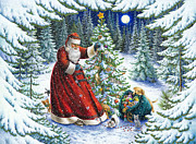 Fir Trees Painting Prints - Santas Little Helpers Print by Lynn Bywaters