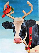 Moo Moo Paintings - Santas new helper  by Laura Carey